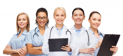 group of happy doctors and nurses